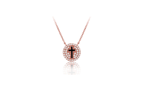 16 Inch Rose Gold Plated Sterling Silver Cross Micro Pave Necklace (Two Inch Extension)