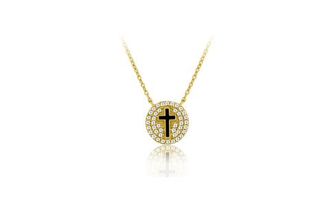 16 Inch Gold Plated Sterling Silver Cross Micro Pave Necklace (2 Inch Extension)