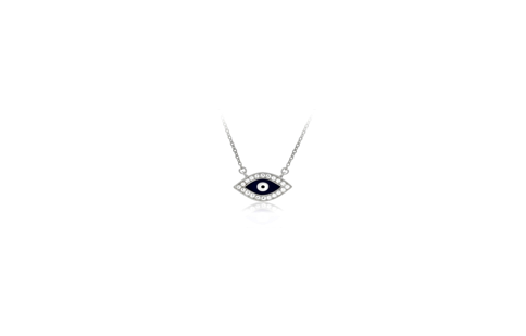17 Inch Sterling Silver Evil Eye Necklace  (2 Inch Extension)