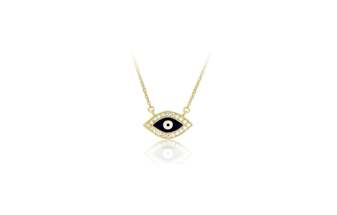 17 Inch Gold Plated Sterling Silver Evil Eye Necklace (2 Inch Extension)
