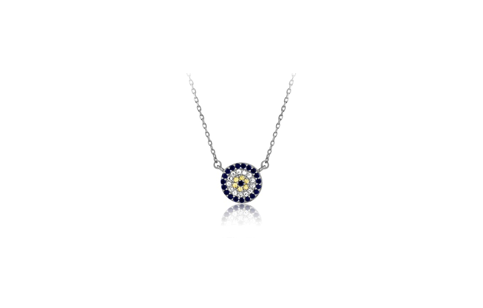 16 Inch Sterling Silver Micro Pave Circle Necklace (One Inch Extension)