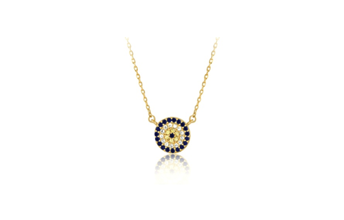 16 Inch Gold Plated Sterling Silver Micro Pave Circle Necklace (One Inch Extension)
