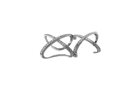 Sterling Silver Double X Mirco Pave Ring