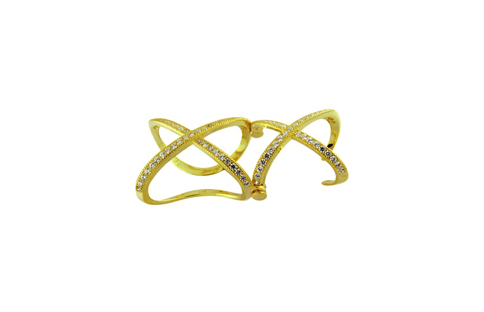 Gold Plated Sterling Silver Double X Micro Pave Ring