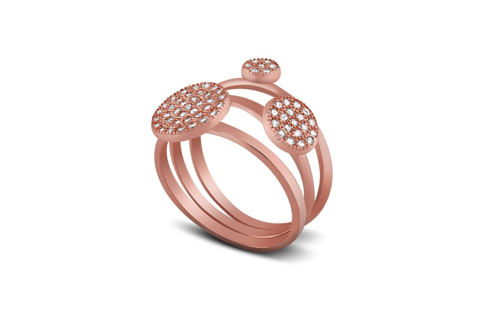Rose Gold Plated Sterling Silver Micro Pave Band Ring