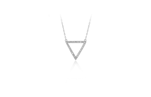 17 Inch Sterling Silver Micro Pave Triangle Outline Necklace (2 Inch Extension)