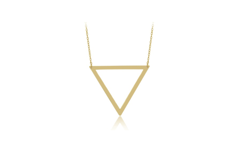 17 Inch Gold Plated Sterling Silver High Polish Triangle Necklace (2 Inch Extension)