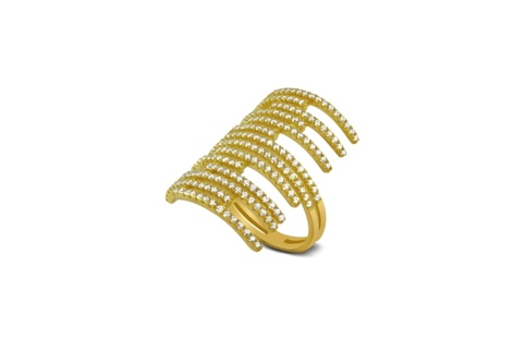 Gold Plated Sterling Silver Micro Pave CZ Unique Ring