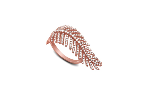 Rose Gold Plated Sterling Silver Fern Design CZ Ring
