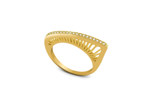 Gold Plated Sterling Silver Unique CZ Ring