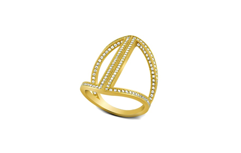 Gold Sterling Silver Micro Pave CZ Arrow Ring