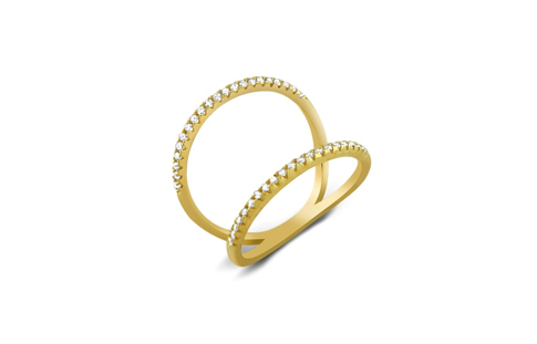 Gold Plated Sterling Silver Dual Converging Band CZ Ring