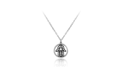 17 Inch Sterling Silver High Polish Circle CZ Black Rhodium Hamsa Necklace (2 Inch Extension)