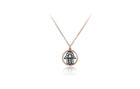 17 Inch Rose Gold Plated Sterling Silver High Polish Circle CZ Black Rhodium Hamsa Necklace (2 Inch Extension)
