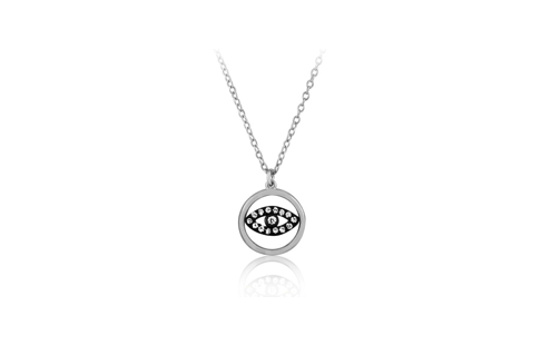 17 Inch Sterling Silver High Polish Circle CZ Eye Necklace (2 Inch Extension)