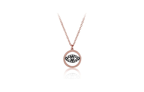 17 Inch Rose Gold Plated Sterling Silver High Polish Circle CZ Eye Necklace (2 Inch Extension)