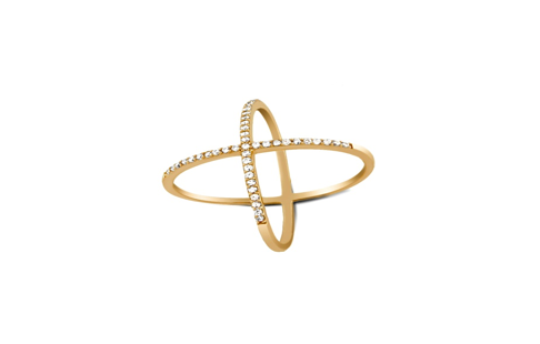 Gold Plated Sterling Silver Unique X Ring