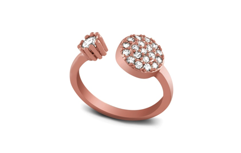 Rose Gold Plated Sterling Silver CZ Ring