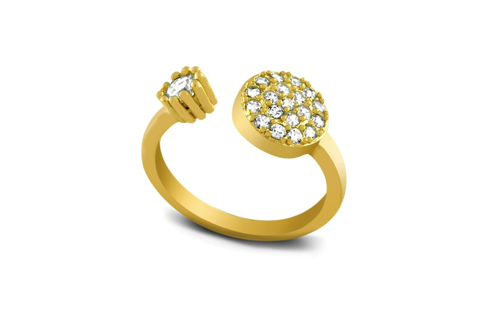 Gold Plated Sterling Silver CZ Ring