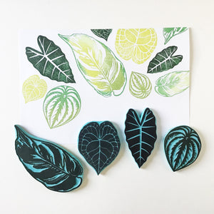 Leaf hand carved rubber stamps