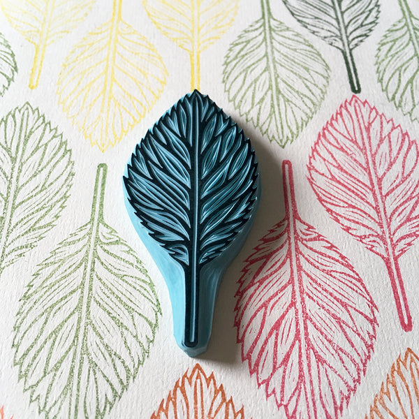 Autumn Leaf Rubber Stamp, Hand Carved Stamp of a Tree Leaf