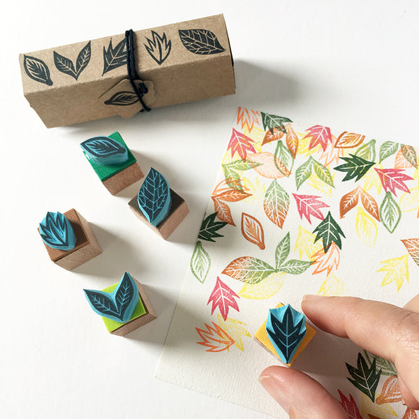 Leaf hand carved rubber stamps, set of five mini rubber stamp leaves.