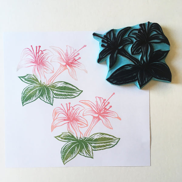 Rubber stamp of Azalea flowers, hand carved by cassastamps