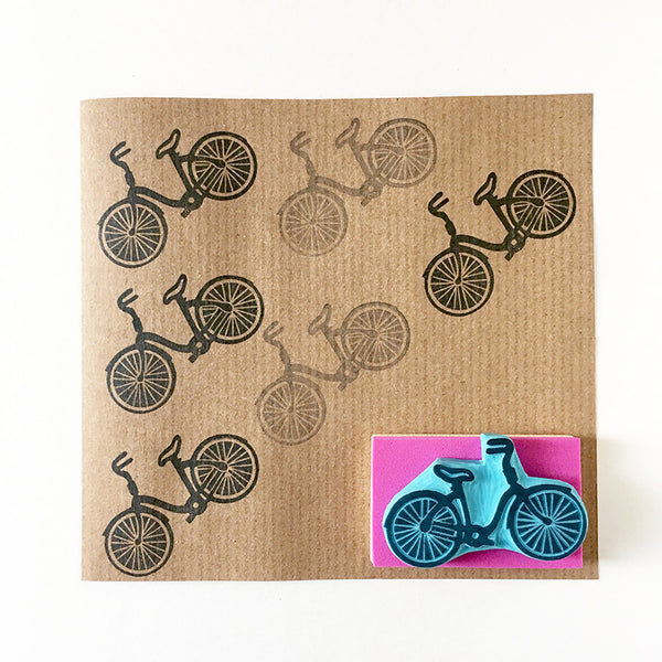 Bicycle rubber stamp, hand carved stamp of a vintage bicycle