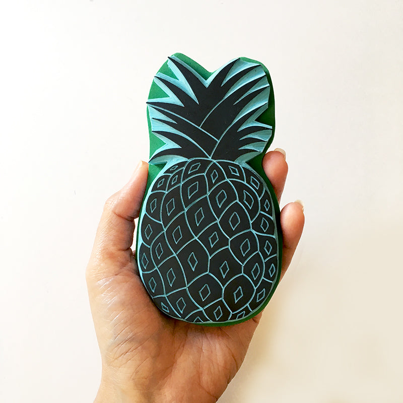 Big Pineapple rubber stamp. Hand carved and wood mounted for easy stamping.