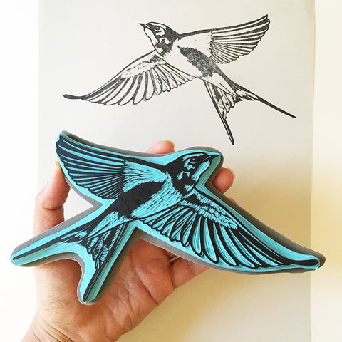 Swallow Bird Rubber Stamp, Big size stamp