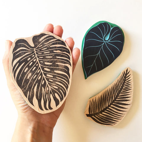 Big size Tropical leaves rubber stamps. Hand carved by Cassastamps