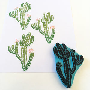 Cactus hand carved rubber stamp, saint pedro cactus stamp