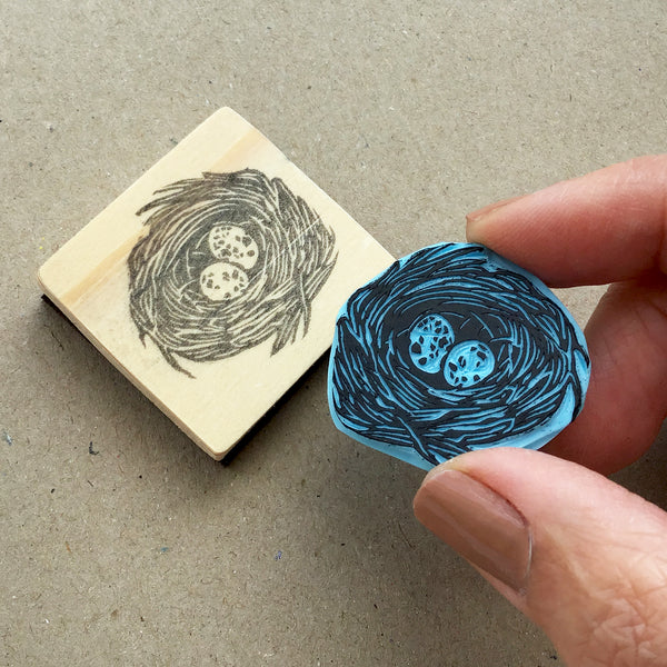Bird nest with eggs rubber stamp. Hand carved stamp. Country style