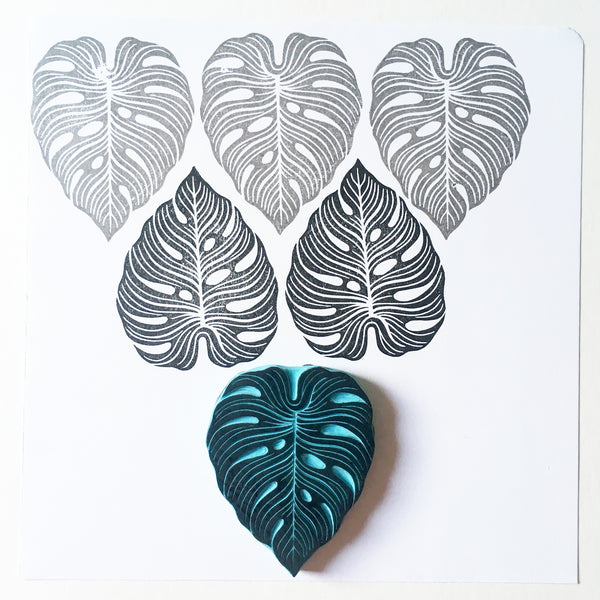 Boho Style Monstera Leaf Rubber Stamp