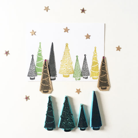 Bottle Brush Pine Tree rubber stamps , Brush pine trees for Christmas DIY stamping