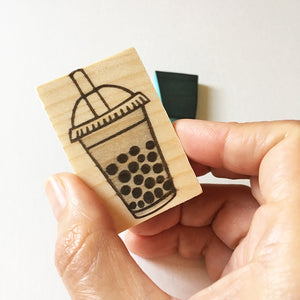 Bubble tea hand carved rubber stamp