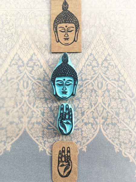 Buddha head and Shuni Mudra hand gesture rubber stamps