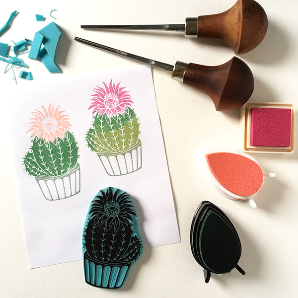 Bloomed cactus rubber stamp, hand carved stamp, cactus art