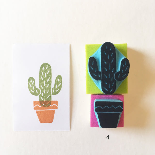 Cactus Rubber Stamps with Plant Pot, Hand Carved Stamps. Cassastamps