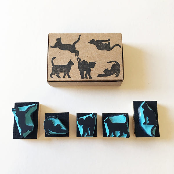 Cat silhouette rubber stamps, individual cats or set of 5 stamps by Cassastamps