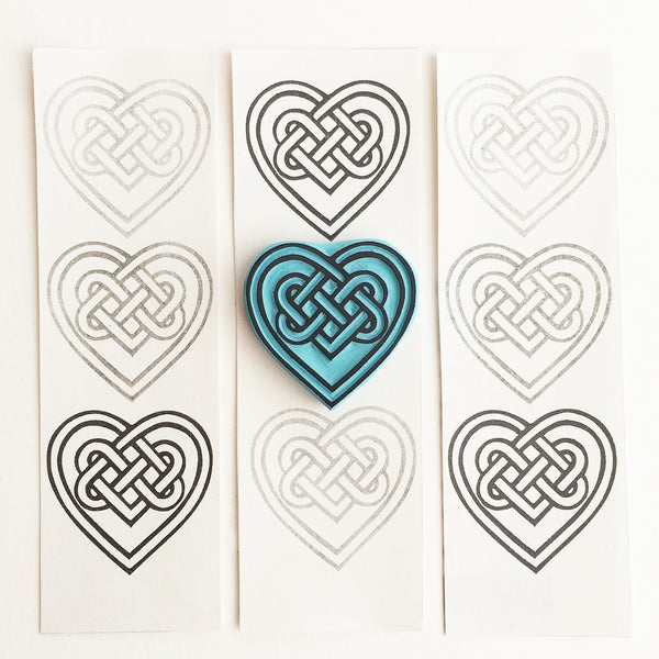 Celtic Heart Knot Rubber Stamp, hand carved by Cassastamps