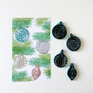 Christmas ball rubber stamps, Christmas ornament stamps, Hand carved rubber stamps