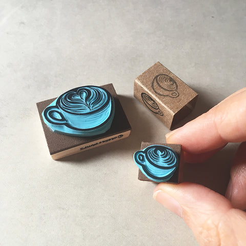 Coffee cup rubber stamps, hand carved stamps in two sizes.