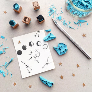 Zodiac constellation rubber stamps. Hand carved stamps.