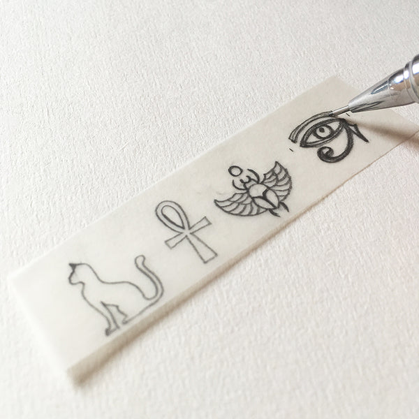 Egyptian icon set of rubber stamps, set of 4 hand carved rubber stamps