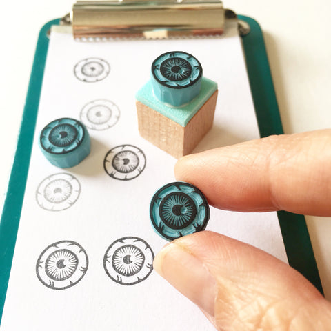 Eyeball rubber stamp, hand carved mini stamp for journal stamping