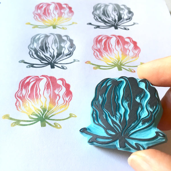 Flame Lily flower hand carved rubber stamp by Cassastamps