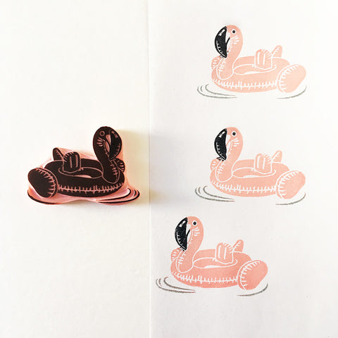 Flamingo Pool Float Hand Carved Rubber Stamp