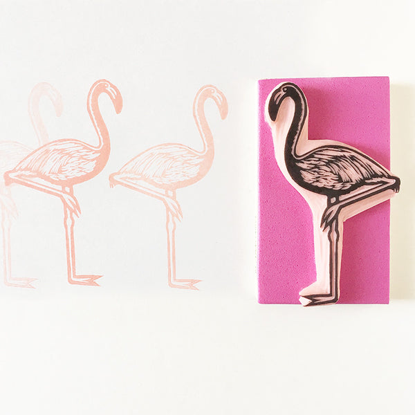 Flamingo rubber stamp, hand carved stamp of a tropical bird, animal stamp