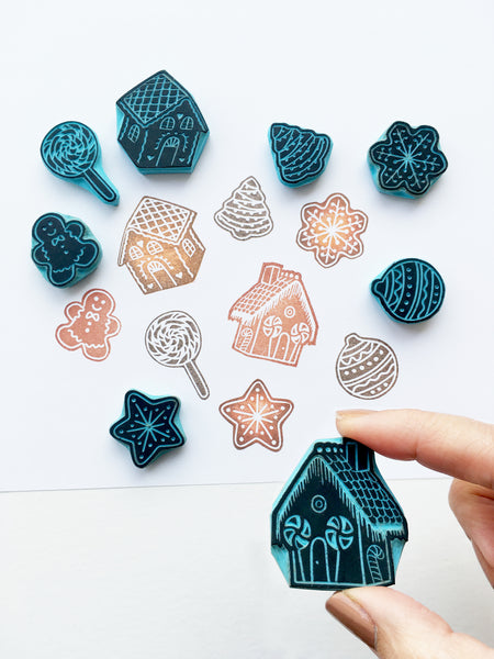 Christmas cookie stamps, gingerbread cookie stamps, xmas stamping